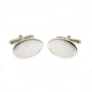 Silver Linear Textured Oval Cufflinks