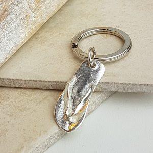 Silver Flip Flop Keyring