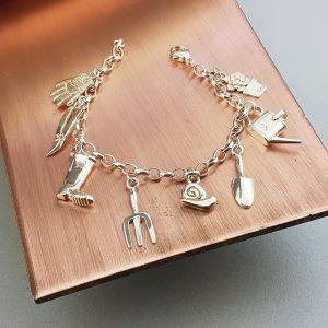 Silver Gardening Enthusiast Charm Bracelet