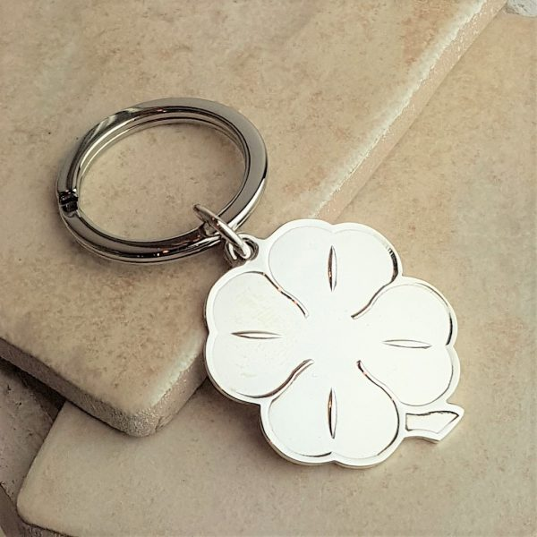 Personalised Silver Four Ireland Leaf Clover Keyring
