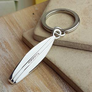 Personalised Silver Surfboard Keyring