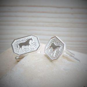 Sterling Silver Equestrian Cufflinks