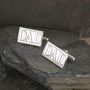 Handmade Silver Dad Cufflinks