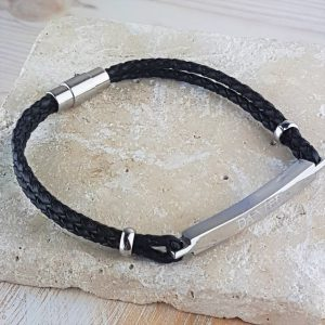 Personalised Daniel Black Leather Bracelet