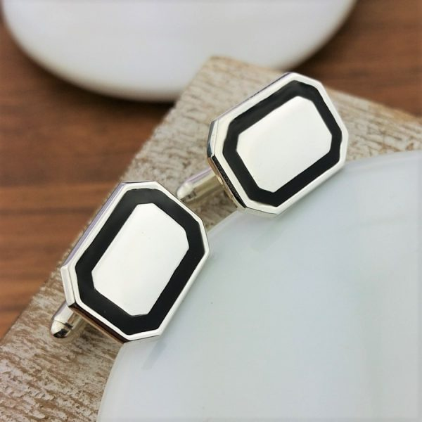 Personalised Silver And Black Enamel Cufflinks