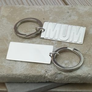 Personalised Sterling Silver Mum Embossed Keyring