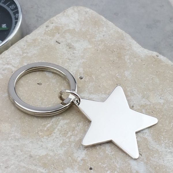 Personalised Silver Star Keyring