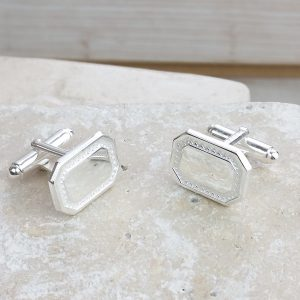 Personalised Silver Textured Cuff Links