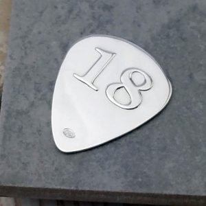 Personalised & Engraved Silver 18th Birthday Plectrum