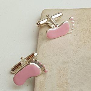 New Arrival Pink Baby Feet Cufflinks