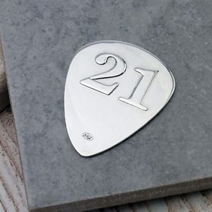 Personalised & Engraved Silver 21st Birthday Plectrum