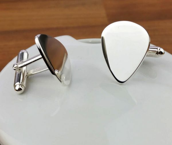 Sterling Silver Plectrum Cufflinks with Free Engraving