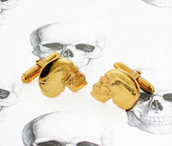 Gilded Silver Skull Cufflinks