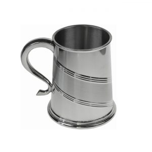 Personalised Diagonal Satin Band Pewter Tankard