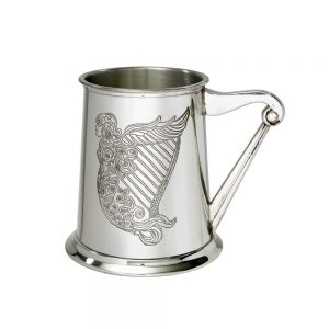 Personalised Pint Irish Harp Pewter Tankard