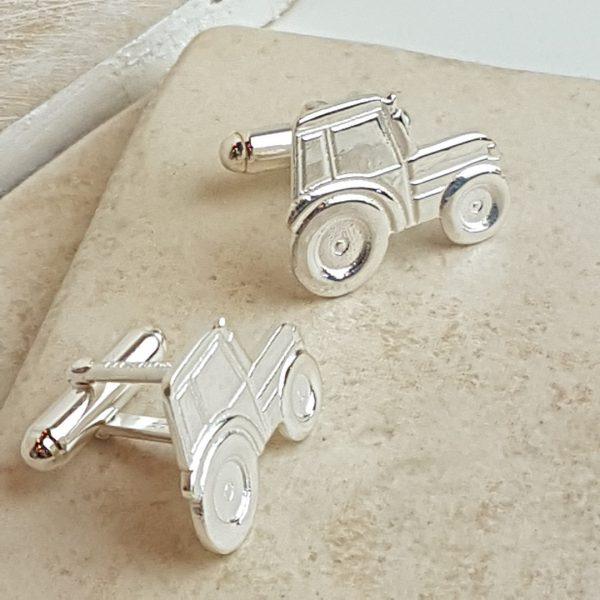 Silver Tractor Cufflinks