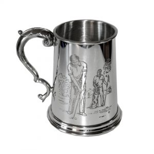 Personalised Golf Full Scene Embossed Pewter Tankard