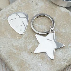 Personalised Silver Star Keyring