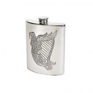 Personalised 6 oz Irish Harp Pewter Kidney Hip Flask
