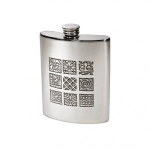 Personalised 6 oz Medieval Pewter Kidney Hip Flask