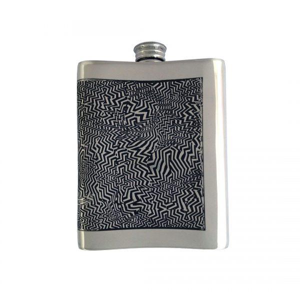 Personalised 6 oz Red Room Pewter Kidney Flask