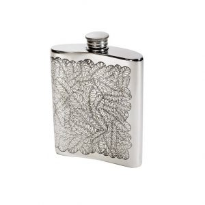 Personalised 6 oz Tiger Leaf Pewter Kidney Flask