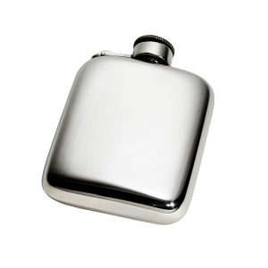Personalised 4 oz Plain Pewter Pocket Hip Flask with Captive Top