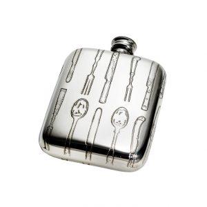 Personalised Knife Fork Spoon 4 oz Pewter Pocket Flask
