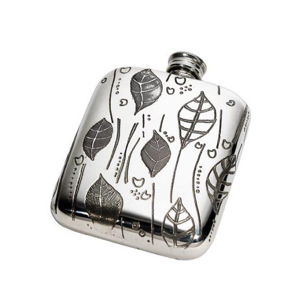 Personalised Leaf Pewter 4 oz Pocket Hip Flask