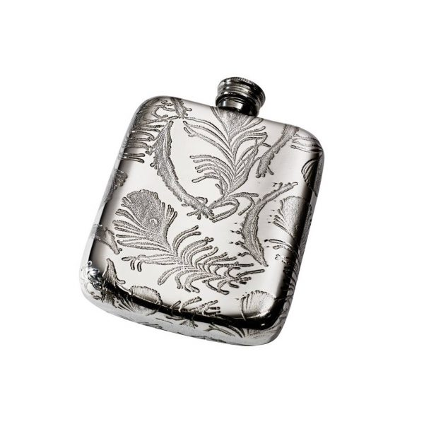 Personalised Peacock Pattern 4 oz Pewter Pocket Hip Flask