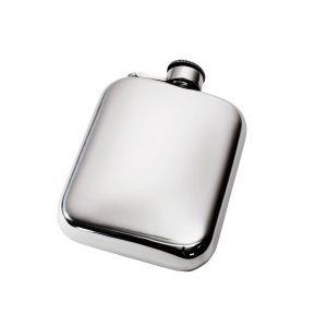 Personalised 6 oz Plain Pewter Pocket Hip Flask with Captive Top