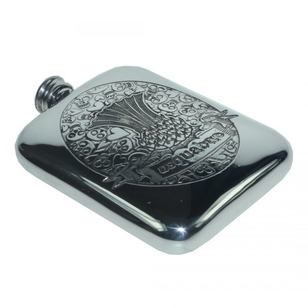 Personalised 6 oz Usquabae Thistle Skull and Hearts Pewter Hip Flask
