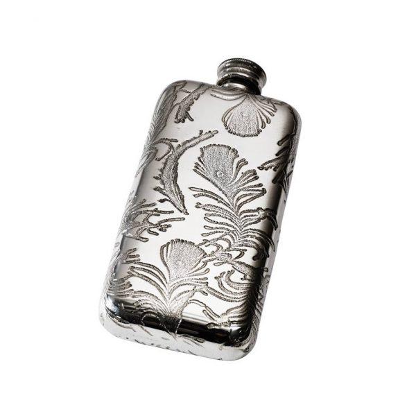 Personalised 3 oz Peacock Pewter Pocket Hip Flask