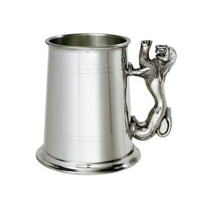Personalised Pewter Tankard with Rampant Lion Handle