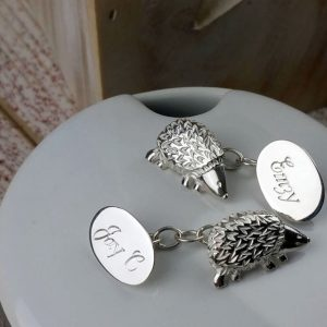 Personalised Silver Woodland Hedgehog Cufflinks
