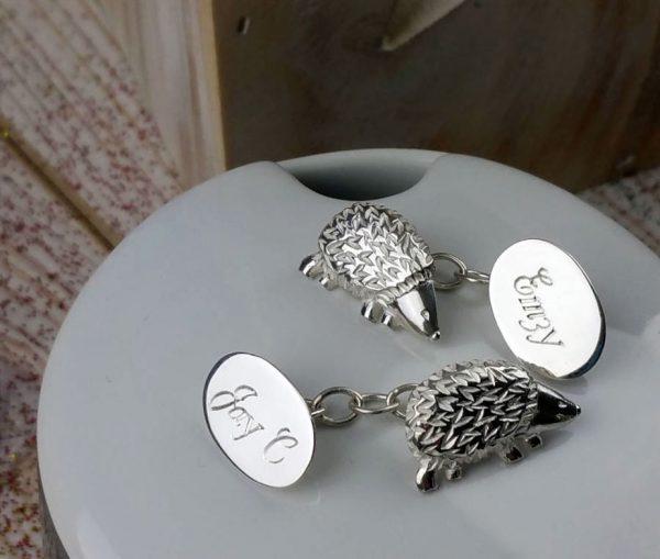 Personalised Silver Woodland Hedgehog Cufflinks