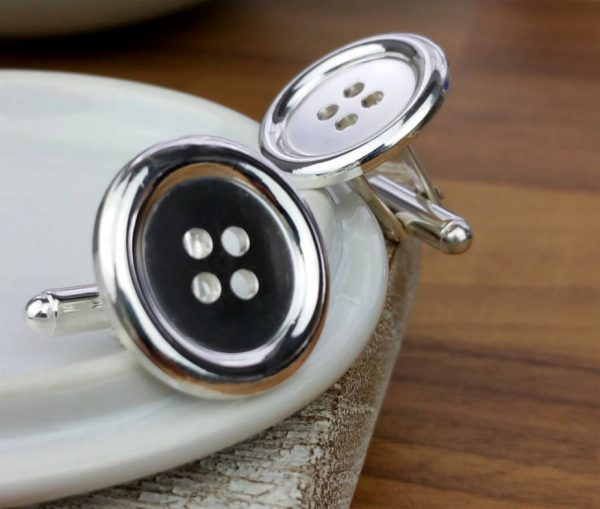Sterling Silver Button Cufflinks with Presentation Box