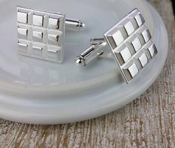 Sterling Silver Chunky Cufflinks with Presentation Box