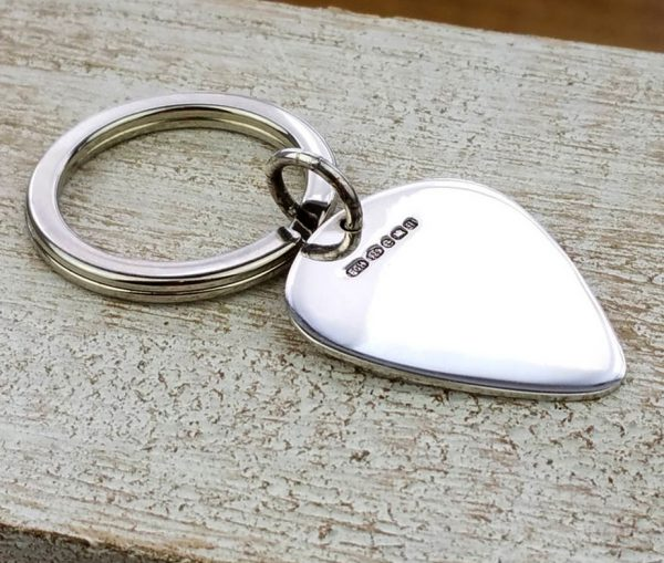 Personalised Silver Plectrum Keyring with Free Engraving
