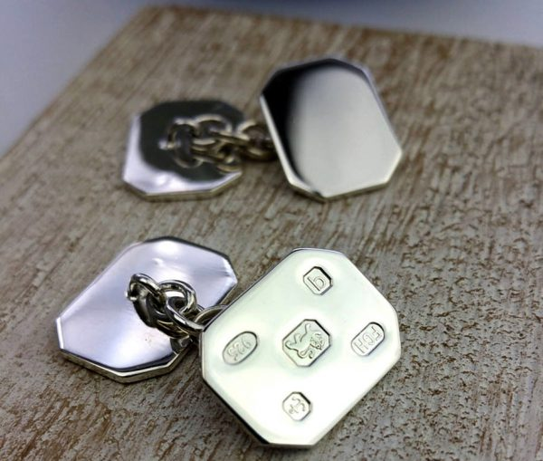 Personalised Silver Feature Hallmark Cufflinks with Free Engraving