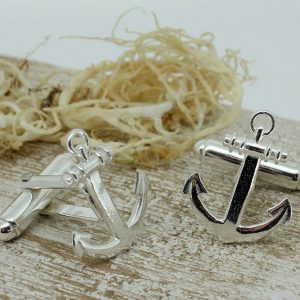 Sterling Silver Anchor Shaped Cufflinks with Presentation Box