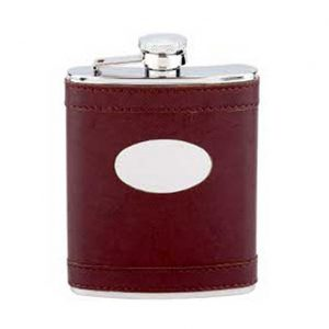 6oz Leather Covered Engraved Hip Flask with Free Engraving