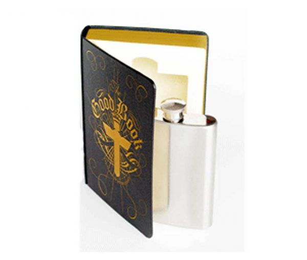 The Good Book Engraved Hip Flask in a Book with Free Engraving
