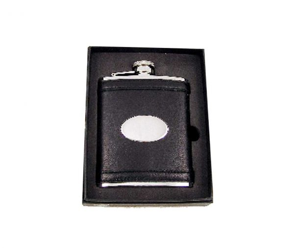 6oz Engraved Hip Flask in Black Leather with Free Engraving