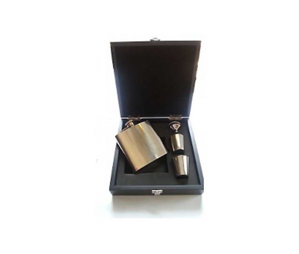 6oz Engraved Hip Flask Wooden Boxed Hip Flask Gift Set with Free Engraving