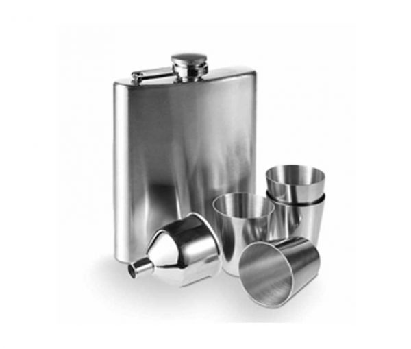 Engraved Hip Flask with Funnel, Cups and Free Engraving