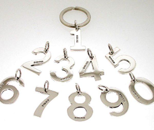 Silver Number Keyring