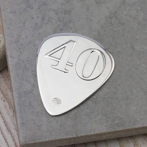 Personalised Silver 40th Birthday Plectrum
