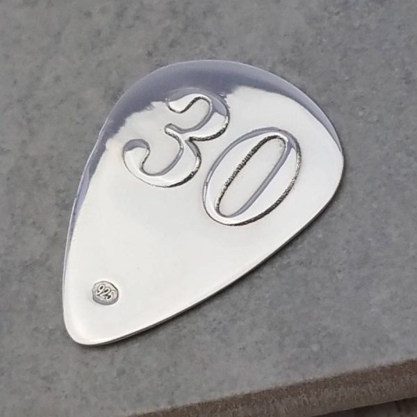 Personalised & Engraved Silver 30th Birthday Plectrum