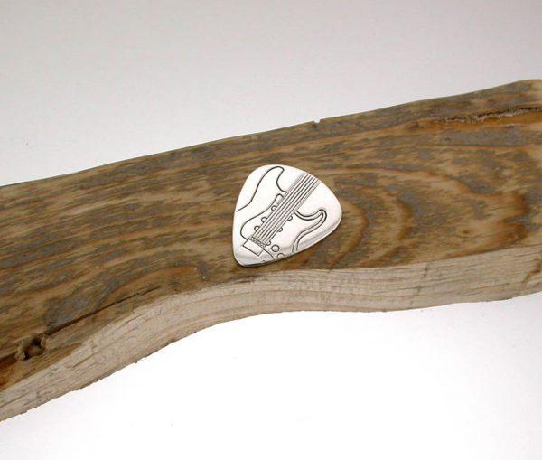Personalised Silver Electric Guitar Plectrum
